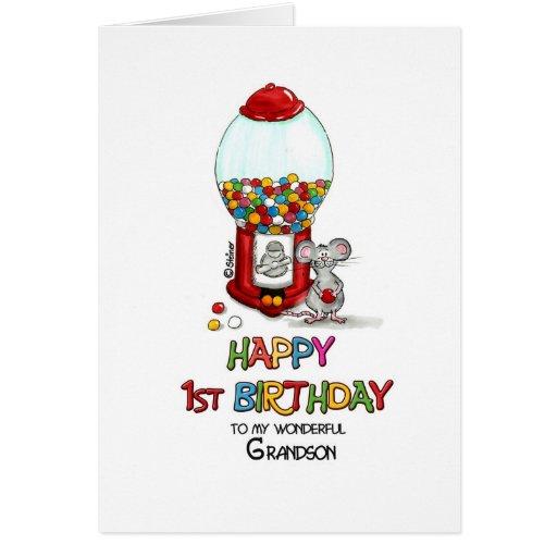 Primeiro aniversario feliz a meu neto maravilhoso cartão