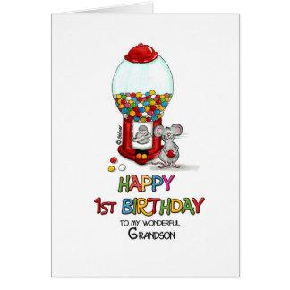 Primeiro aniversario feliz a meu neto maravilhoso cartão comemorativo
