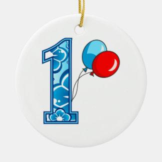 Primeiro aniversario floral e balões ornamento de cerâmica redondo