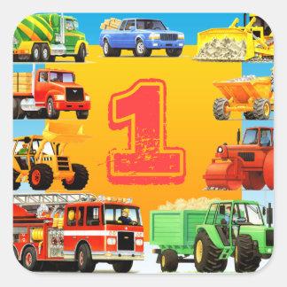 Primeiro aniversario grande dos caminhões adesivos quadrados