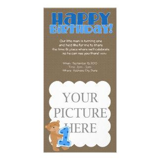 Primeiro aniversario - menino - anúncio cartões com foto