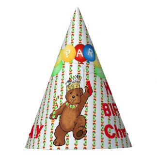Primeiro aniversario real do costume do urso chapéu de festa