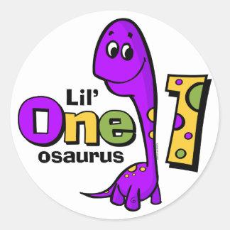 Primeiro aniversario roxo do dinossauro adesivo redondo