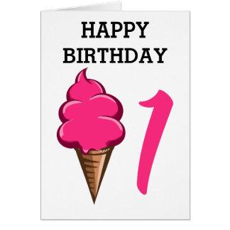 Primeiro aniversário sorvete cor-de-rosa das cartão