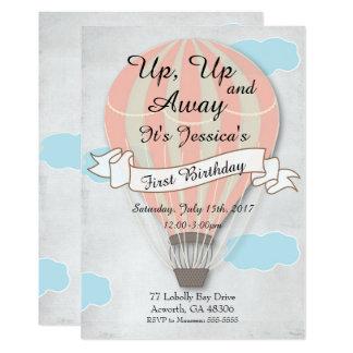 Primeiro balão de ar quente do rosa do convite do