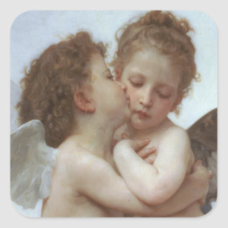 Primeiro beijo - pintura bonita do anjo adesivo quadrado