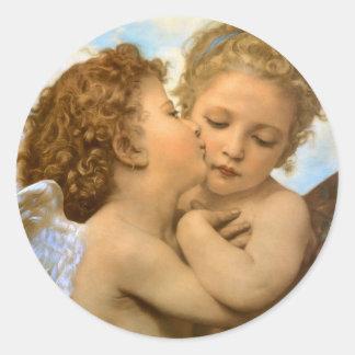 Primeiro beijo por Bouguereau, anjos do Victorian Adesivos Redondos