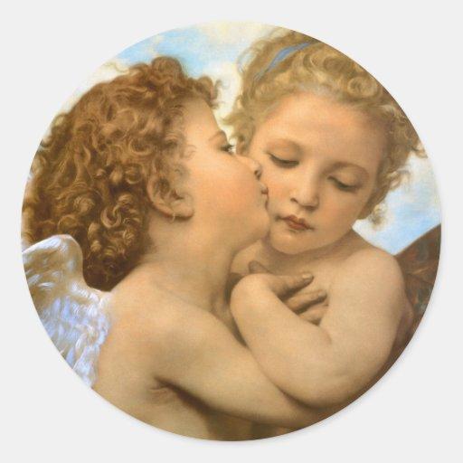 Primeiro beijo por Bouguereau, anjos do Victorian Adesivos Em Formato Redondos
