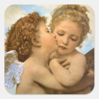 Primeiro beijo por Bouguereau, anjos do Victorian Adesivo Quadrado