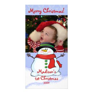 Primeiro boneco de neve dos cartões de foto de Nat Cartões Com Fotos Personalizados