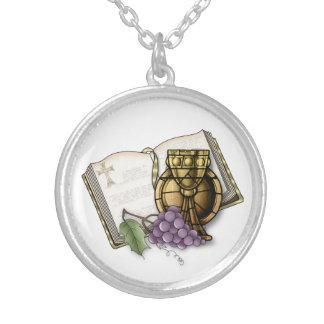 Primeiro cálice do comunhão, bíblia, uvas colares personalizados