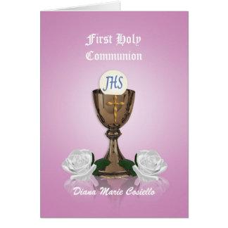 Primeiro cálice do convite do comunhão no rosa cartão comemorativo