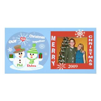 Primeiro cartão com fotos dos casais dos bonecos d cartão com foto