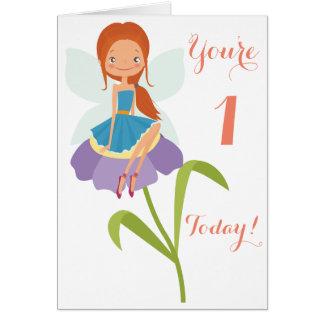 Primeiro cartão da fada do aniversário