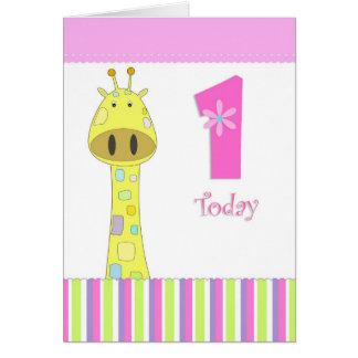 Primeiro cartão da menina do aniversário