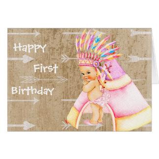 Primeiro cartão de aniversário para o bebê do
