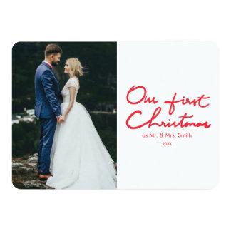 Primeiro cartão de Natal da foto dos Newlyweds do