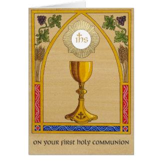 Primeiro cartão do comunhão santamente