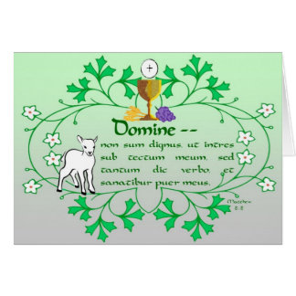 Primeiro cartão do comunhão santamente tradicional