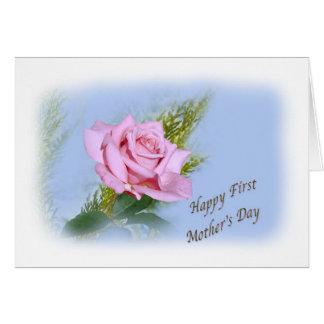 Primeiro cartão do dia das mães com rosa do rosa