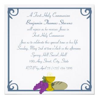 Primeiro comunhão convite quadrado 13.35 x 13.35cm