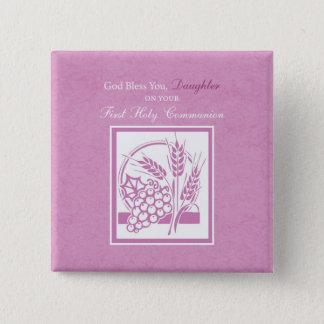 Primeiro comunhão da filha, cor-de-rosa bóton quadrado 5.08cm
