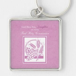 Primeiro comunhão da filha, cor-de-rosa chaveiro