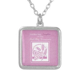 Primeiro comunhão da filha, cor-de-rosa colar banhado a prata