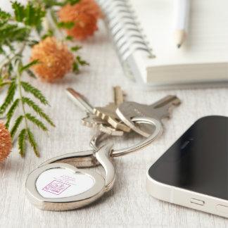 Primeiro comunhão da neta, cor-de-rosa chaveiro coração torcido cor prata