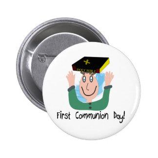"""Primeiro comunhão Day~~ """" menino com bíblia """" Boton"""