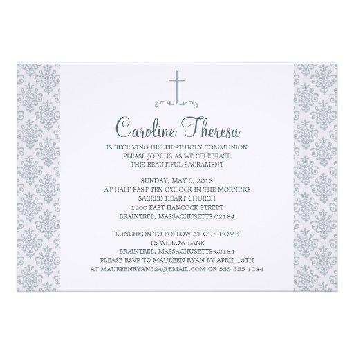 Primeiro comunhão do damasco convites personalizado