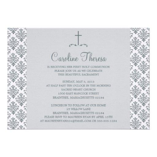 Primeiro comunhão do damasco convites personalizados
