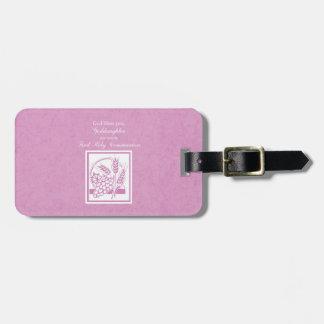 Primeiro comunhão do Goddaughter, cor-de-rosa Etiqueta De Bagagem