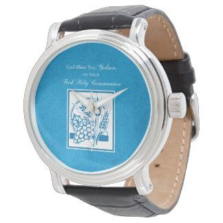 Primeiro comunhão do Godson, trigo, uvas azuis Relógio De Pulso