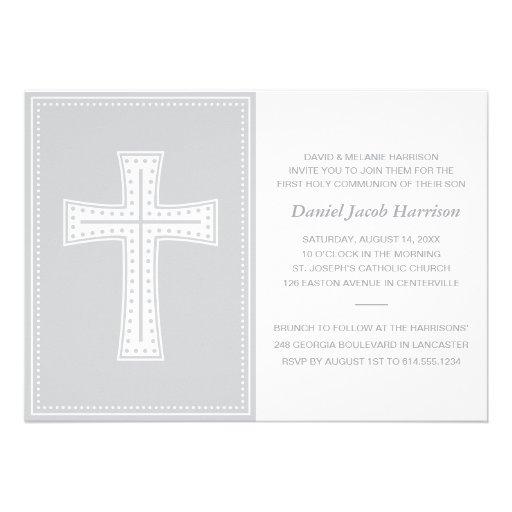 Primeiro comunhão dos meninos cinzentos convite personalizado