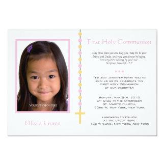 Primeiro comunhão - menina convite 12.7 x 17.78cm