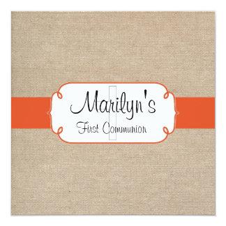 Primeiro comunhão rústico de serapilheira convite quadrado 13.35 x 13.35cm