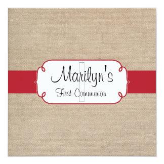 Primeiro comunhão rústico de serapilheira vermelha convite quadrado 13.35 x 13.35cm
