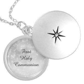 Primeiro comunhão santamente colar banhado a prata