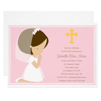 Primeiro comunhão santamente - convite do rosa |