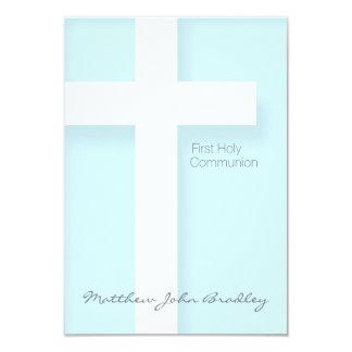 Primeiro comunhão santamente moderno no azul - convite 8.89 x 12.7cm