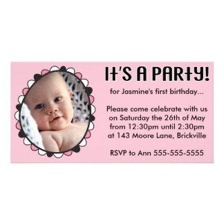 Primeiro convite da foto do aniversário cartão com foto
