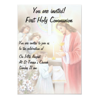 Primeiro convite da menina do comunhão santamente