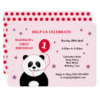 Primeiro convite de aniversário da panda bonito convite 12.7 x 17.78cm