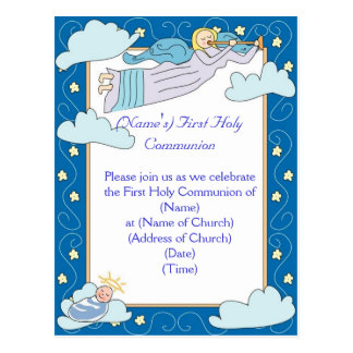 Primeiro convite do comunhão santamente cartão postal