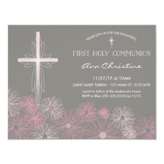 Primeiro convite do comunhão santamente com cruz,