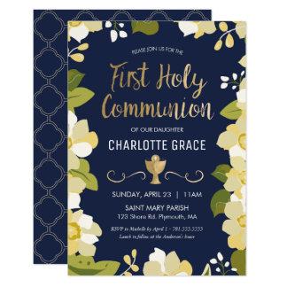 Primeiro convite do comunhão santamente, floral