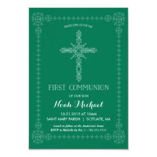 Primeiro convite do comunhão, verde com cruz