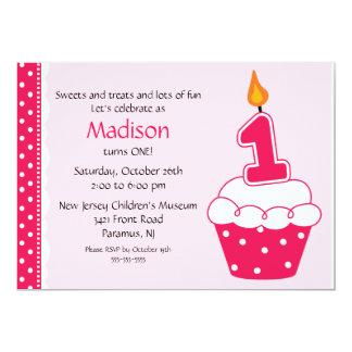 Primeiro convite do cupcake do aniversário convite 12.7 x 17.78cm