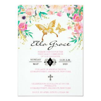 Primeiro convite floral elegante do comunhão